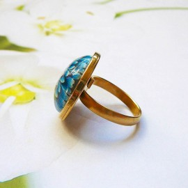 Bohemian round ring blue dahlia