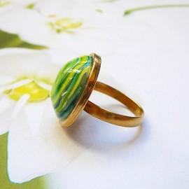 Bohemian round ring green spiral