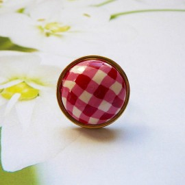 Bohemian ring, in gold plated stainless steel, red vichy in polymer clay, handmade, unique piece, Joanna Calla