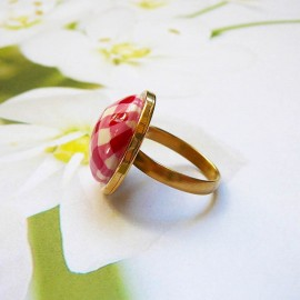Bohemian round ring red vichy