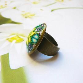 Bohemian round ring yellow green mandala