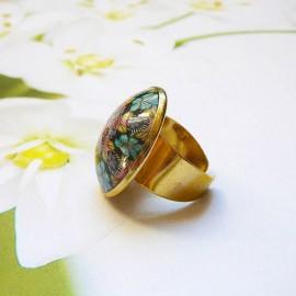 Bohemian round ring blue red mandala