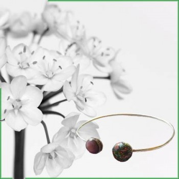 Floral bangle, bohemian chic in silver or gold plated, for women, handmade by Joanna Calla