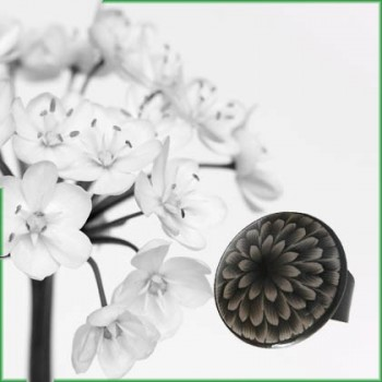 Bohemian floral nature rings in polymer clay, adjustable for women, handmade, unique pieces by Joanna Calla