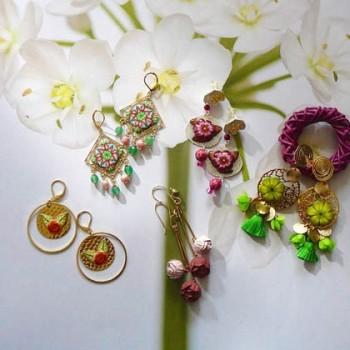 Boucles d'oreilles florales nature bohème chic en argent ou laiton plaqué or, perles en pâte polymère fait main, Joanna Calla