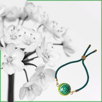 Adjustable bohemian bracelet on silk cord, floral or mandala pattern, for women, Joanna Calla