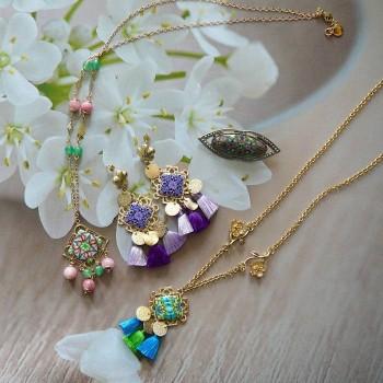 Bijoux floraux bohème chic, pour femmes, pièces uniques fait main, Joanna Calla