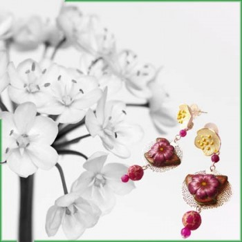 Pendant earrings, floral, bohemian, gold or silver plated, for women, handmade by Joanna Calla
